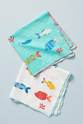 Slide View: 3: Fish-Embroidered Napkin