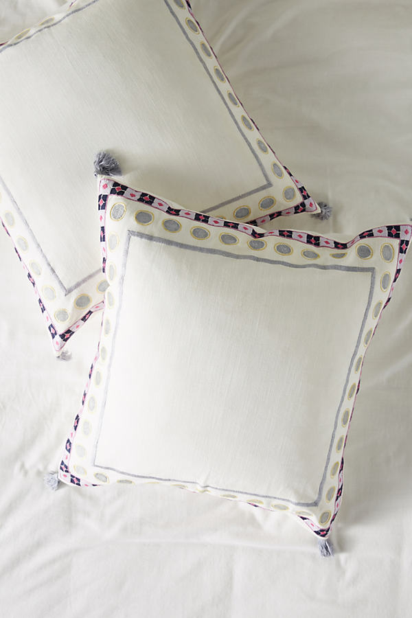Embroidered Meramec Square Pillowcase - Assorted, Size Euro Sham