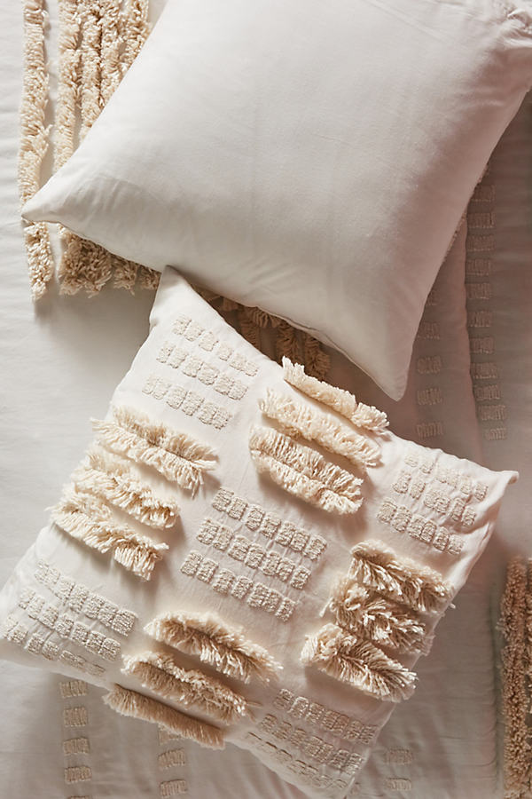 Tufted Calamus Square Pillowcase - White, Size Euro Sham