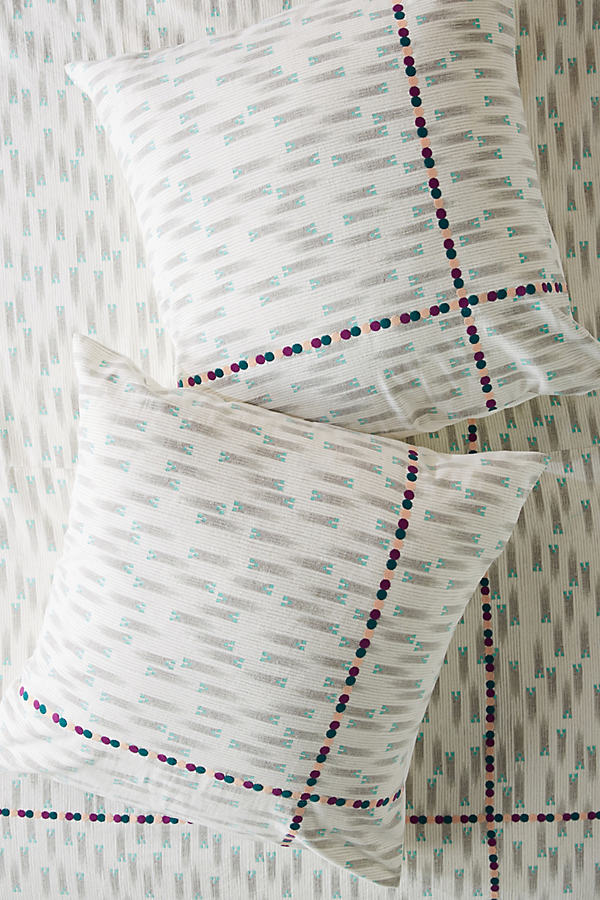 SUNO for Anthropologie Embroidered Catalan Square Pillowcase - Assorted, Size Euro Sham