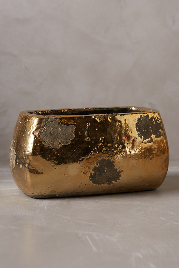 Metallic Crackle Herb Pot, Window - Gold, Size M