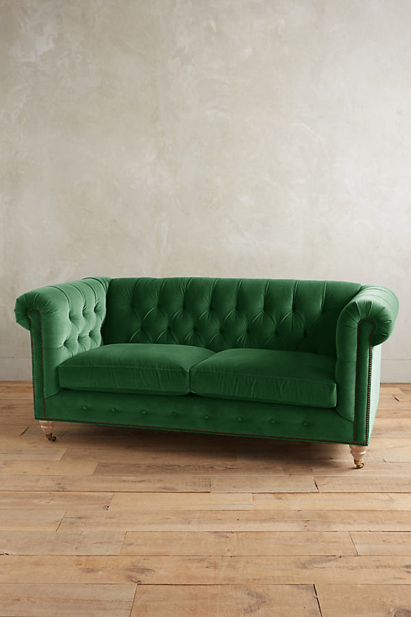 Velvet Lyre Chesterfield Sofa, Wilcox Legs - Green