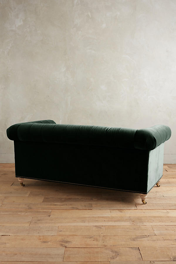Slide View: 2: Velvet Lyre Chesterfield Petite Sofa, Wilcox