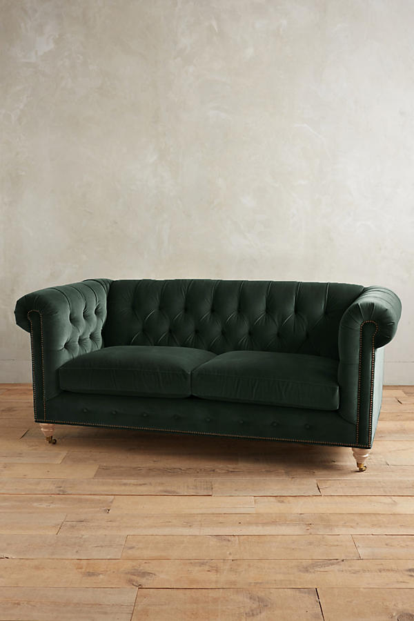 Slide View: 1: Velvet Lyre Chesterfield Petite Sofa, Wilcox