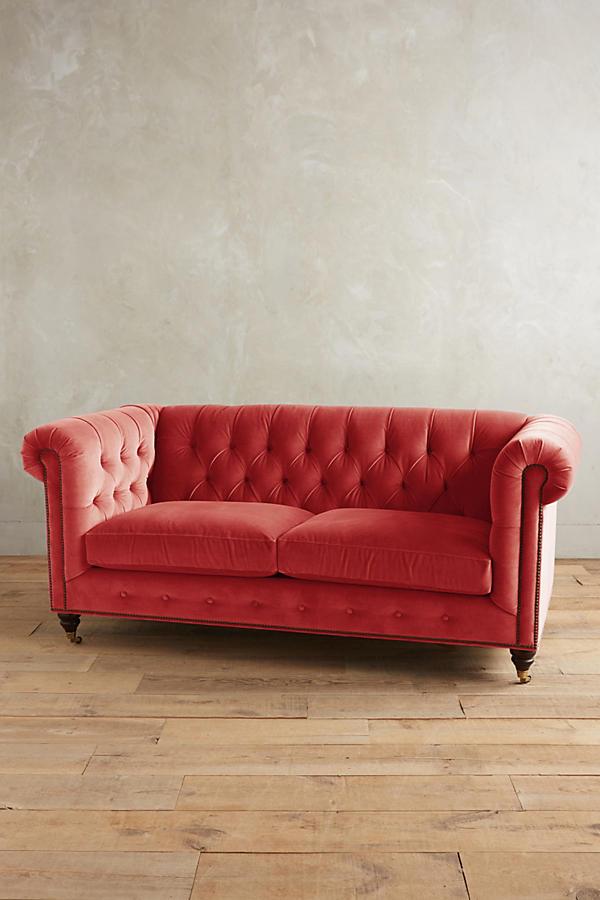 Velvet Lyre Chesterfield Petite Sofa Hickory Anthropologie