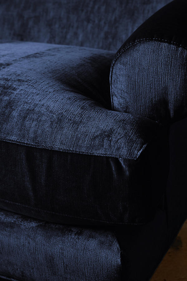 Slide View: 3: Slub Velvet Willoughby Sofa, Hickory
