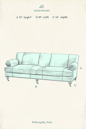 Slide View: 4: Slub Velvet Willoughby Sofa, Wilcox