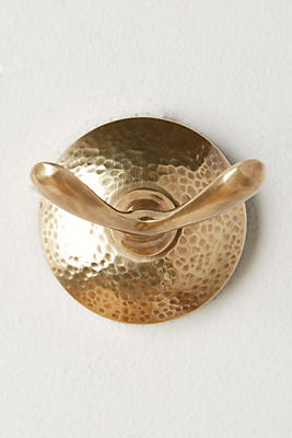 Slide View: 1: Hammered Brass Towel Hook
