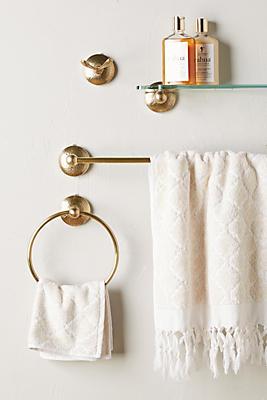 Slide View: 3: Hammered Brass Towel Hook