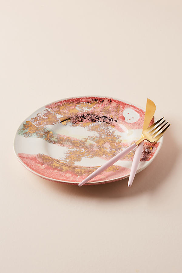 Gold Accent Dinner Plate - Coral, Size Dinner