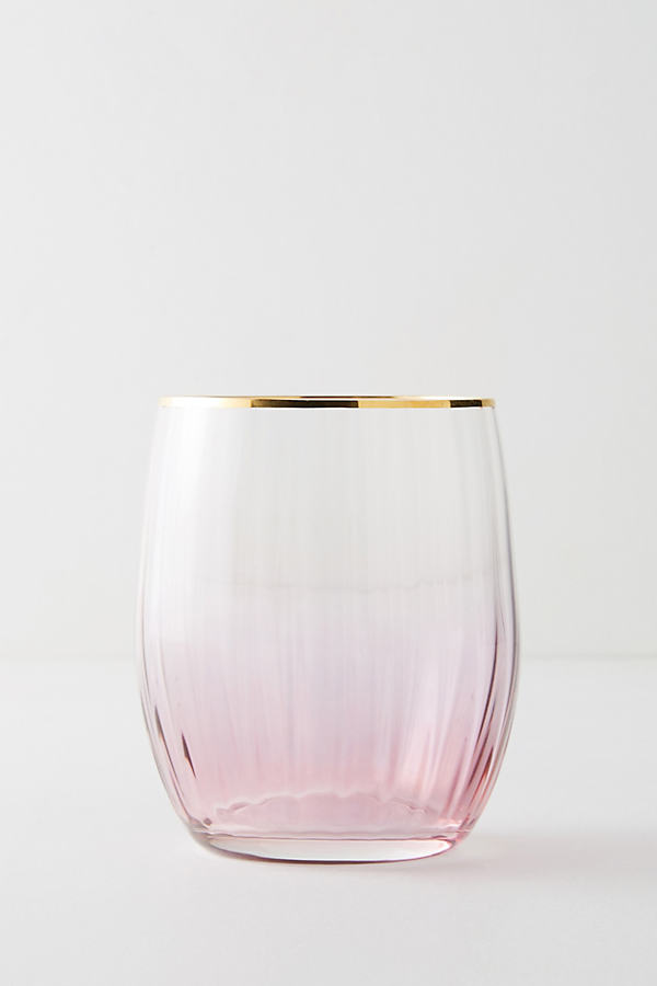 Waterfall Stemless Glass, Rose - Pink, Size Wine Glass