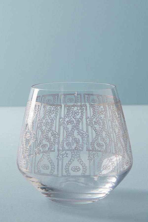 Lattice Stemless Wine Glass - Gold, Size Wine Glass