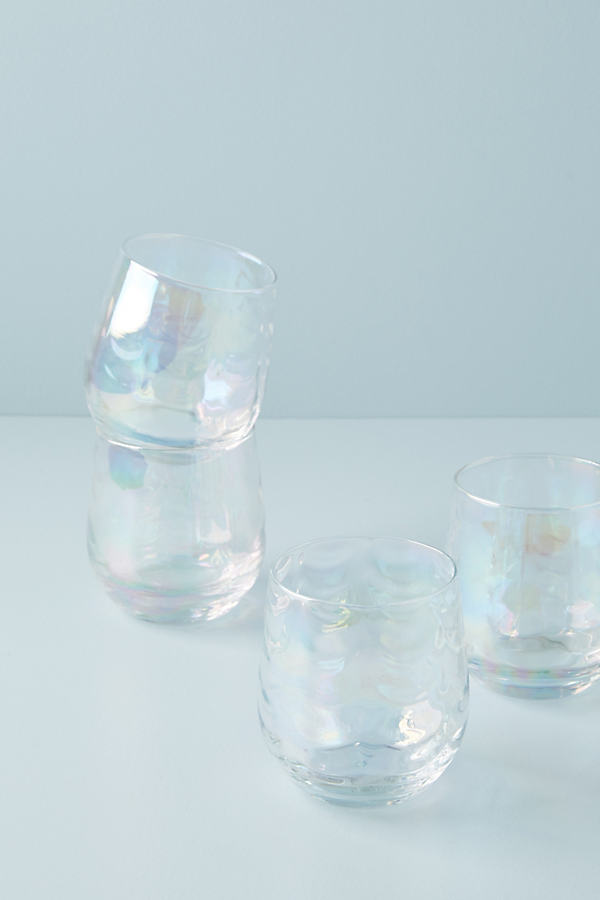 Set of 4 Lustered Stemless Wine Glasses - White, Size Wine Glass