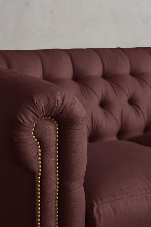 Linen Lyre Chesterfield Sectional, Wilcox