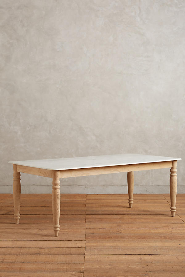 Slide View: 4: Polished Marble Dining Table, Rectangle