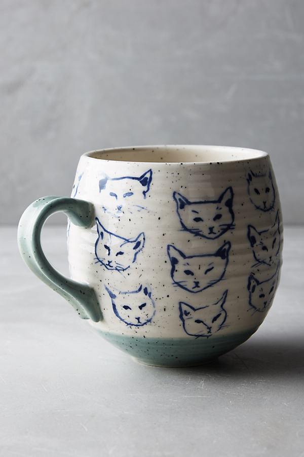 Neko Cat Mug - Blue, Size Mug