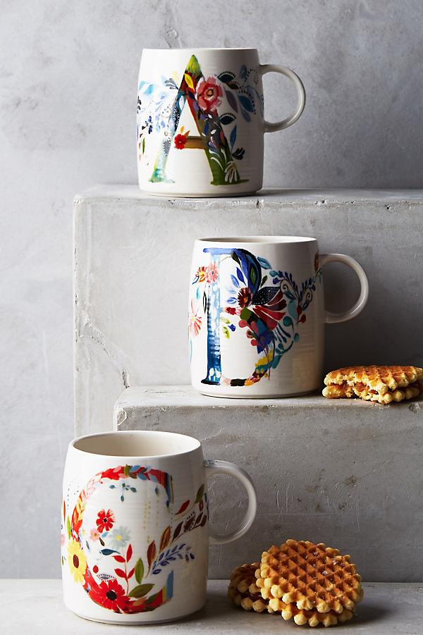 Petal Palette Monogram Mug - A, Size V