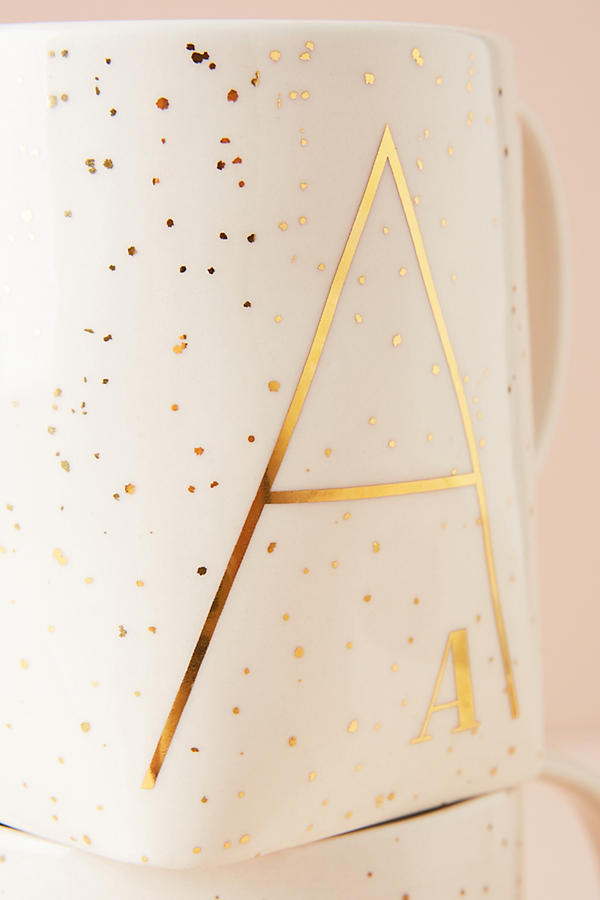 Slide View: 3: Gilded Shapes Monogram Mug