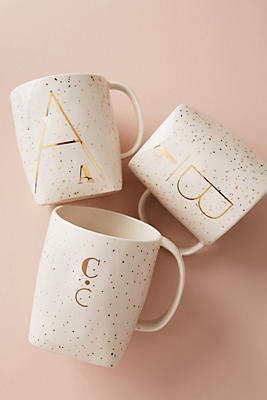 Slide View: 1: Gilded Shapes Monogram Mug