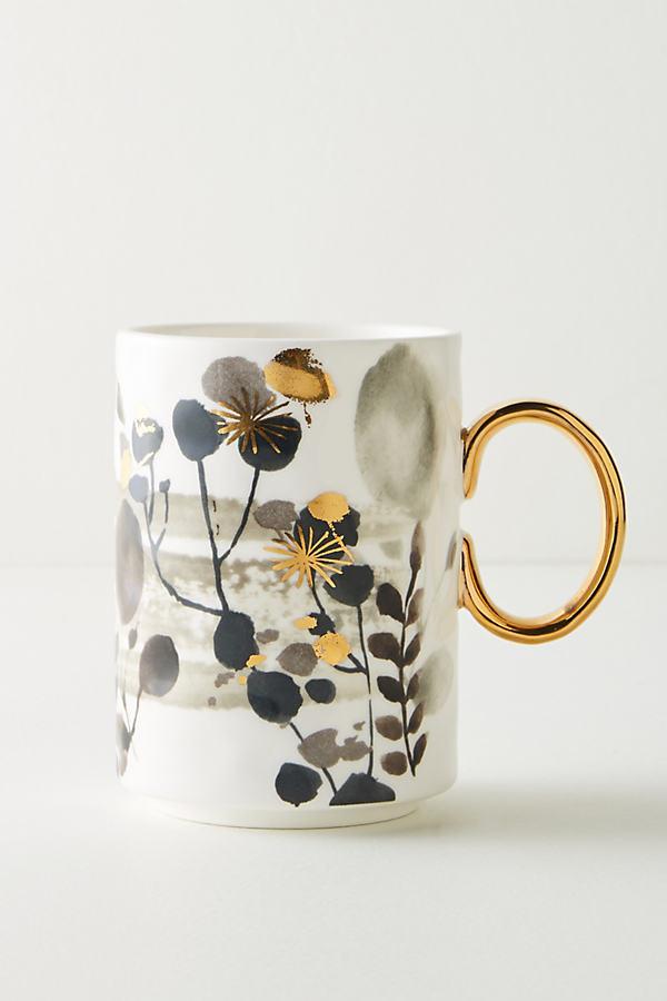 Gilded Botany Mug - Black & White, Size Mug