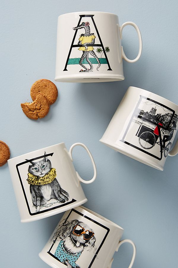Slide View: 1: Animal Alphabet Monogram Mug