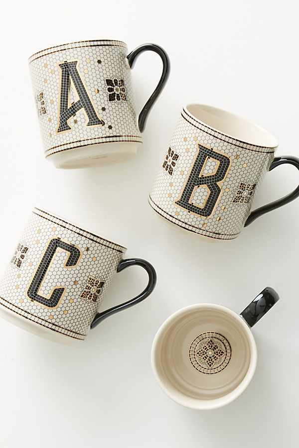 Tiled Margot Monogram Mug | Anthropologie