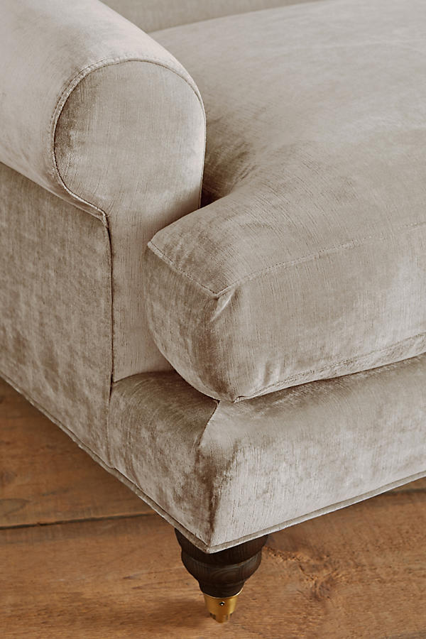 Slide View: 2: Slub Velvet Willoughby Grand Sofa, Hickory