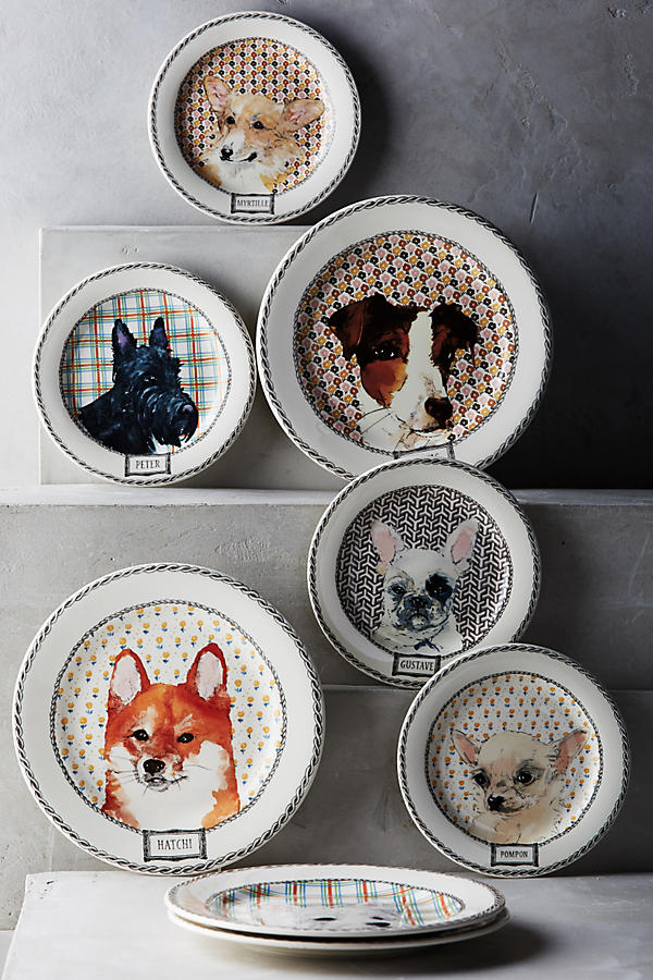 Slide View: 2: Gien Darling Dog Canape Plate Set