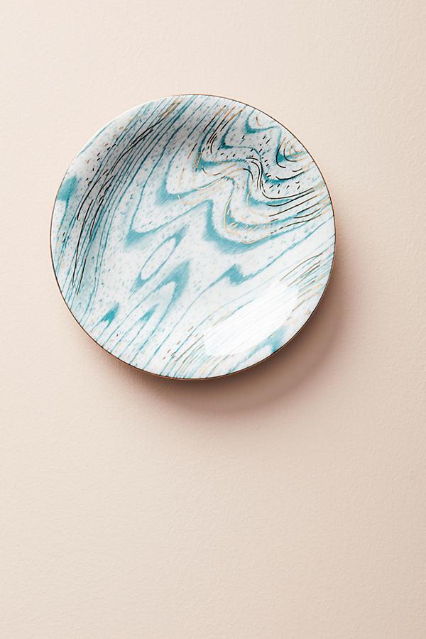 Woodgrain Canape Plate - Dark Turquoise, Size Canape Pla