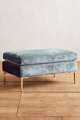Slide View: 1: Slub Velvet Edlyn Ottoman