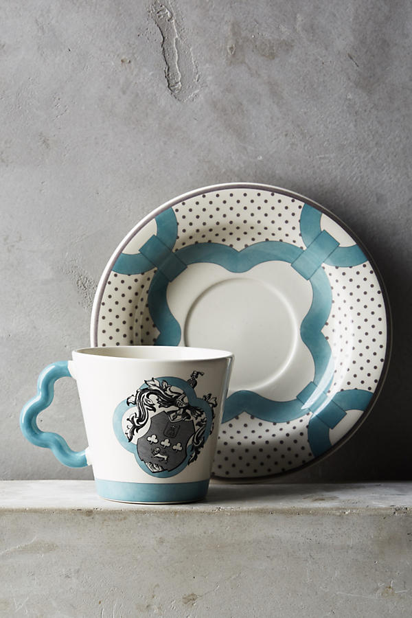 Slide View: 1: Gien Allure Armoiries Cup & Saucer