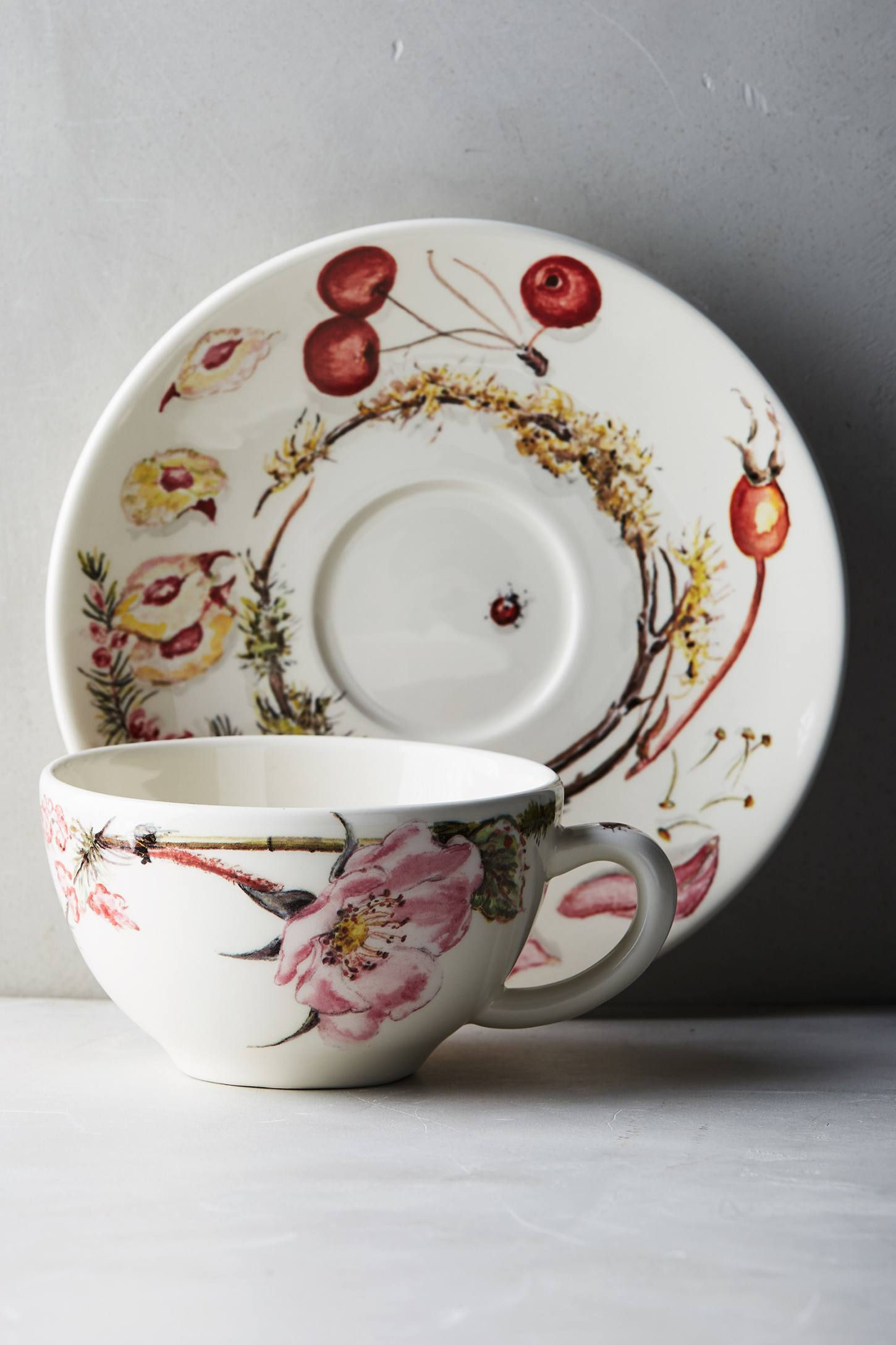 Slide View: 1: Gien Bouquet Cup & Saucer