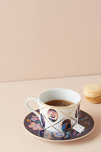 Slide View: 1: Tasse et soucoupe à fleurs Mabelle Liberty for Anthropologie