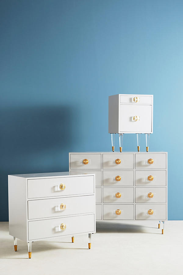 Slide View: 6: Lacquered Regency Three-Drawer Dresser