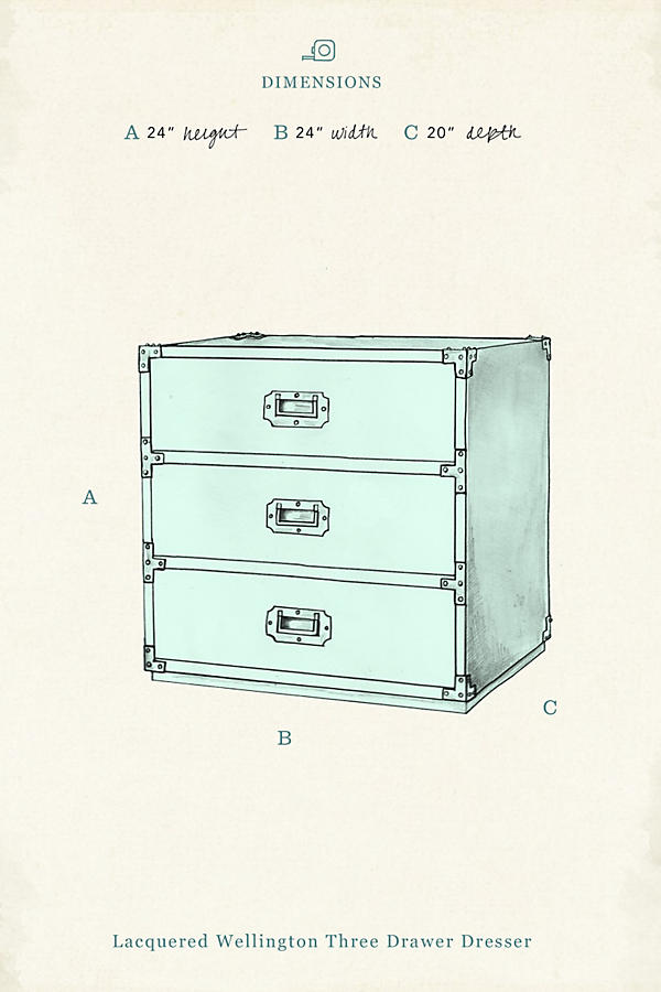 Slide View: 4: Lacquered Wellington Three-Drawer Dresser