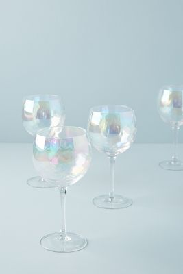 Set Of 4 Lustered Wine Glasses by Anthropologie