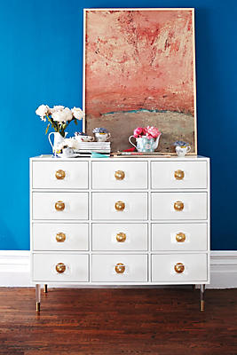 Slide View: 3: Lacquered Regency Twelve-Drawer Dresser