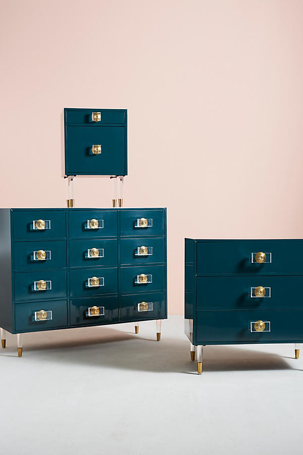 Slide View: 6: Lacquered Regency Twelve-Drawer Dresser