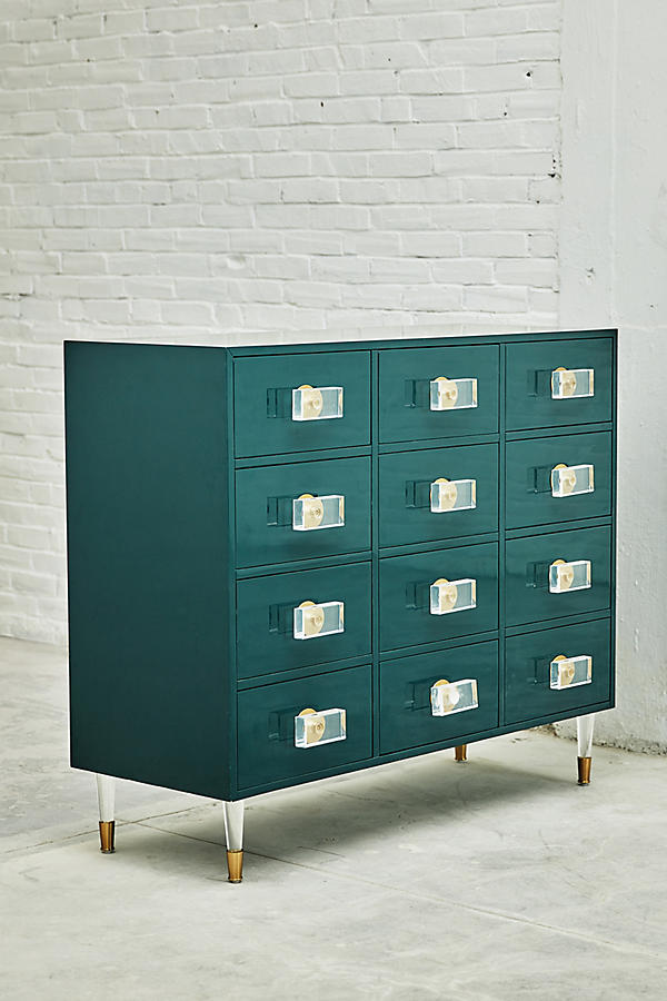 Slide View: 8: Lacquered Regency Twelve-Drawer Dresser