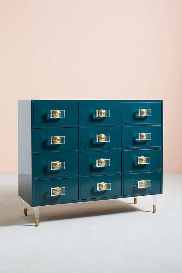 Slide View: 2: Lacquered Regency Twelve-Drawer Dresser