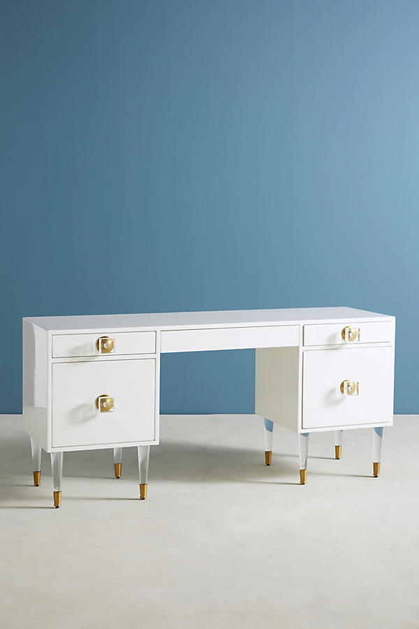 Slide View: 2: Lacquered Regency Desk
