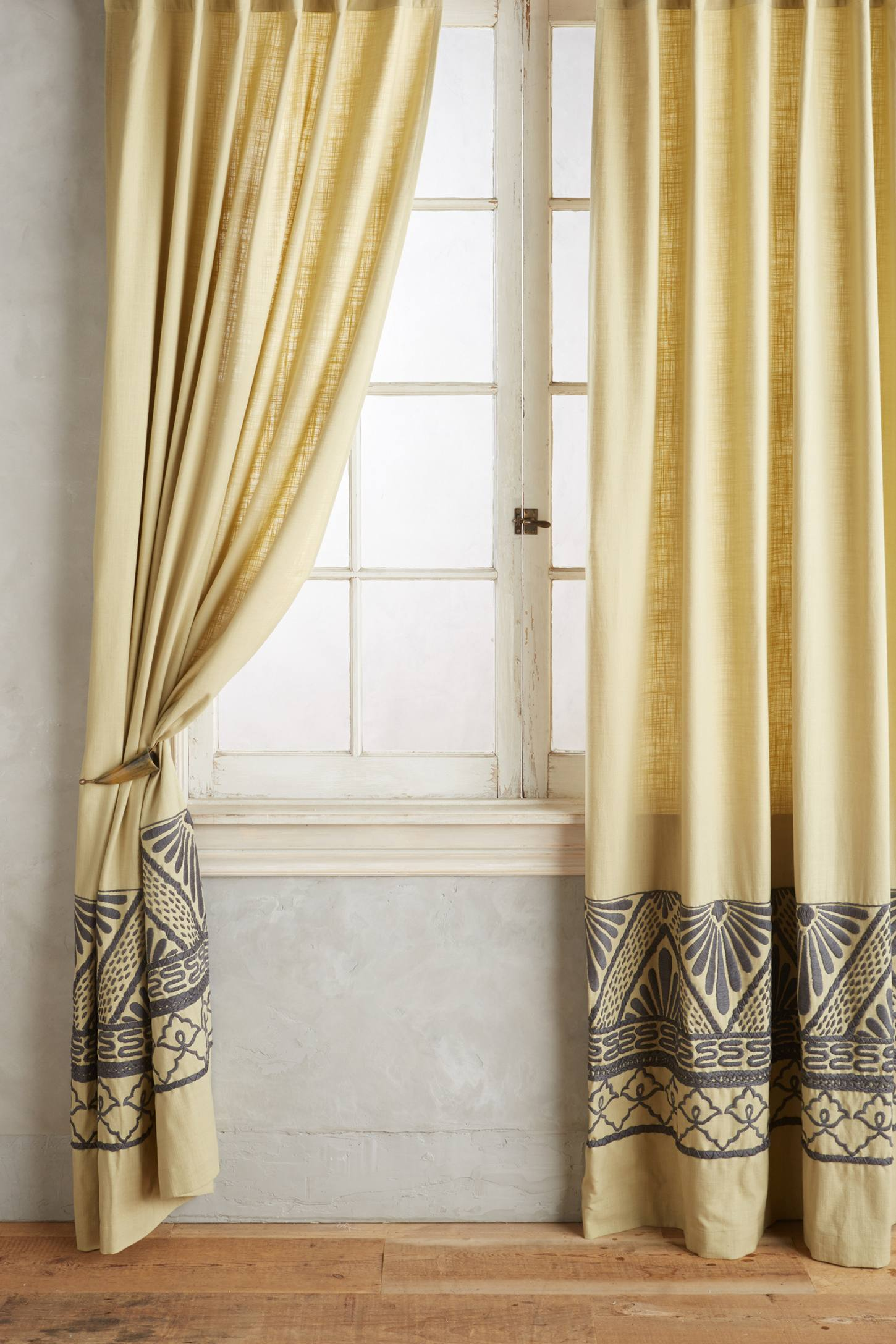 Slide View: 1: Embroidered Edge Curtain